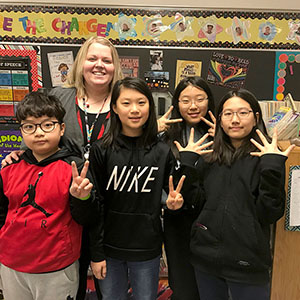 Four students from South Korea joined Ms. Vagle's class at Little Mountain for one month
