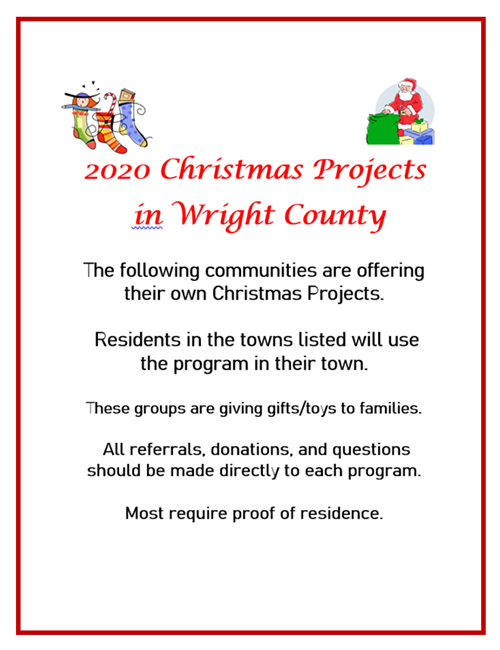 2020 Christmas Projects in Wright County
